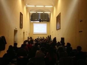 Il team Tascout durante la lezione  di Storia Culturale dei Media Audiovisivi della Prof.ssa Fanchi.